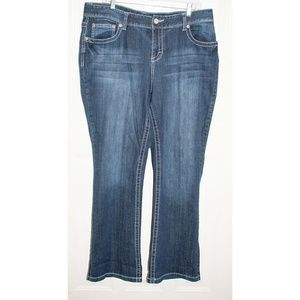 Maurices Size 16S Boot Cut Whiskered Jeans